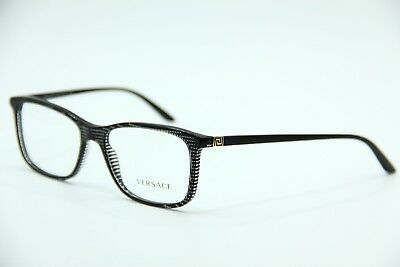 39af283a577 New Versace Mod. 3197 5101 Black Stripped Eyeglasses Authentic Rx Mod.3197  55-