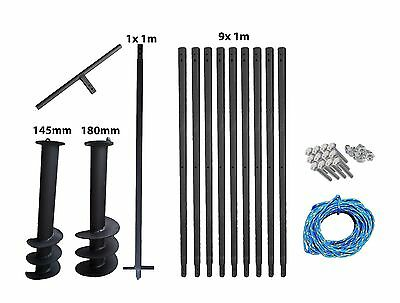 Hand Auger System Water well Post hole Earth Borer 2 drill 145mm +180mm 10meters
