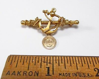 Antique c. 1906 Wrightsville Inlet Beach NC Ships Anchor Boating 14K Gold Pin