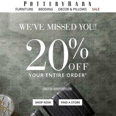 20% Off POTTERY BARN Entire Purchase Coupon Code + Furniture Expires 8/18 15 20