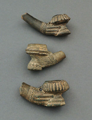 3 traditional tobacco pipe bowls, made of clay, Burma (Myanmar), Asian art