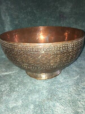 Large Etched Hand Hammered Copper Bowl