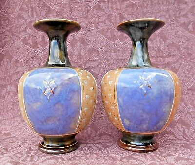 "PAIR OF LONG NECK ROYAL DOULTON STONE WEAR VASES c1920 /30's 8 1/2"" TALL PERFECT"