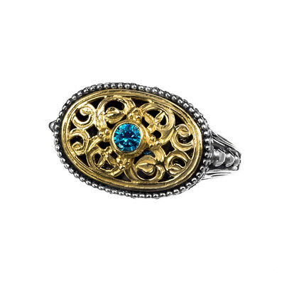 Gerochristo P2374N ~ Sterling & Gold Plated Silver with Zircon Medieval Ring