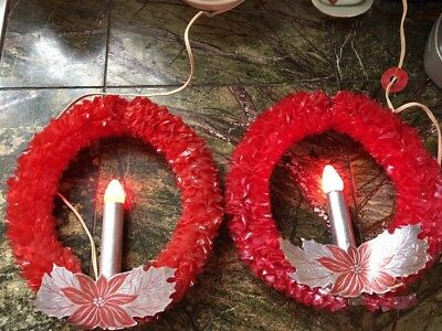 Lot Of 2 Vintage electric vinyl red wreaths with candle,1940s, Christmas IOBs