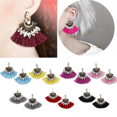 Fashion Womens Bohemian Long Tassel Fringe Boho Ear Stud Dangle Earrings Jewelry