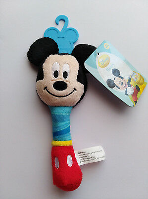 NEW Disney Mickey Mouse Plush Baby Stick Rattle Crinkle Ears