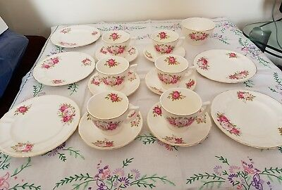 Vintage Bovey Pottery pink roses teacups saucers trios tea set & sugar bowl