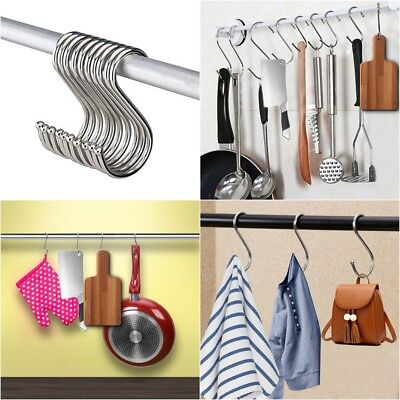 10Pcs Stainless Steel Powerful Silver S Shape Type House Kitchen Hanger Hooks