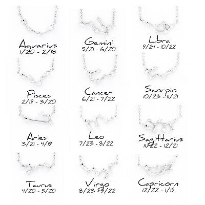CHIC SILVER PLATED CZ Zodiac Constellation Sign Horoscope Birthday Gift  Necklace
