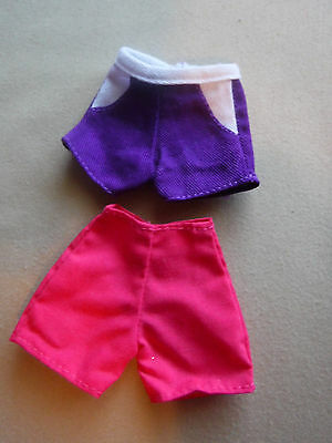 Vintage  Barbie Two Pair Of Shorts 1 Red And 1 Purple & White    Excellent