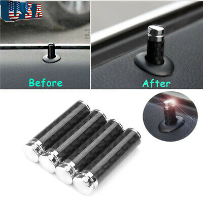 4X Car Door Lock Pins Knob Black Carbon Fiber for BMW 1 3 5 Series E91 X3 X5 X6