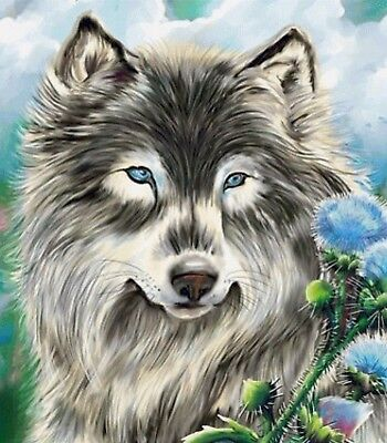 WOLF PORTRAIT PAINTING PAINT BY NUMBERS CANVAS KIT 20 x 16 ins FRAMELESS