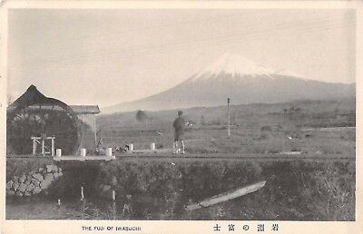 Japan View of Mt Fuji from Iwabuchi Mill Hut Volcano Mountain Postcard