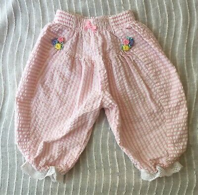 Vintage Buster Brown Pink White Striped Bubble Pants 12 Months Flowers Lace Bow