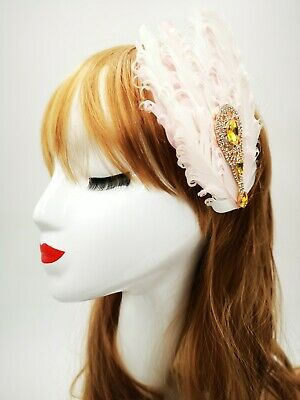 Pink and Gold Feather Headpiece Vintage 1920s Flapper Headband Great Gatsby