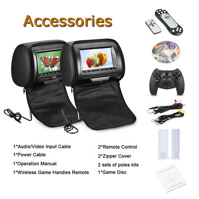 2× 7″ TFT LCD Screen Car Pillow Headrest Monitor IR/FM DVD/USB/SD Game Player