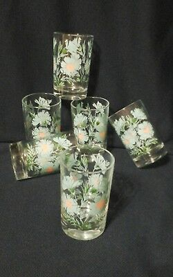 """6 Taylor Smith Taylor Boutonniere Ever Yours  Tumblers  3 3/4"""" Juice"""" Glasses"""