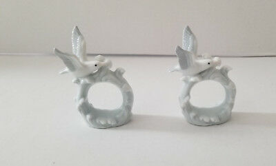 Vintage Otagiri Japan Porcelain Bird Set of 2 Napkin Rings Holders Replacements