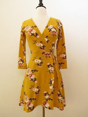 Anthropologie Wrap Dress New Floral Faux Tie Mustard Yellow Size Small Boho