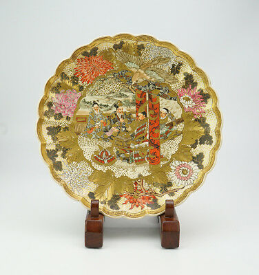 Rare Satsuma Ware Japanese Pottery Plate Samurai Warrior Over 100 Years Ago