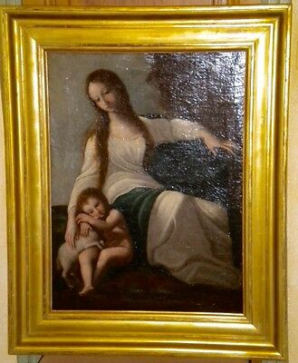Amazing Antique Oil Painting Mother and Child