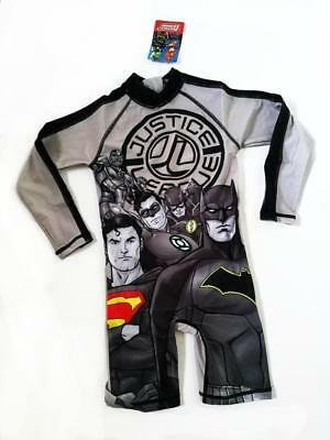 R18 Toddler Boys Sz 2 3 4 Justice League L/Sleeve Rashie Suit Swimwear cossies