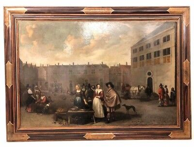 City Scene Flemish School 18th Century Original Antique Large Oil Painting