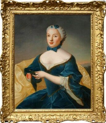 Portrait of Lady 18th Century Amazing Antique Original Oil Painting