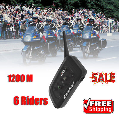 V6-1200 BT Motorcycle Helmet Interphone 6 Rider Intercom Headset Noise Proof