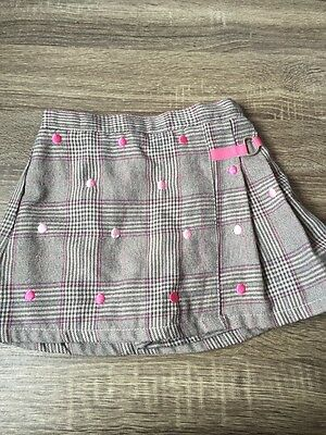 Girls Cute Skort Skirt With Pink Dots School Style Size 5t