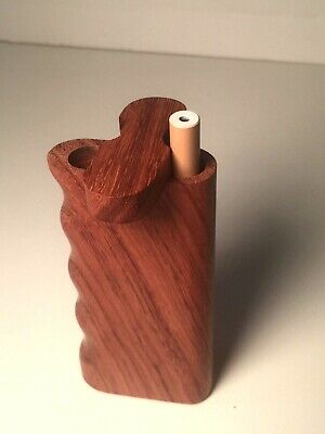 "4"" Dugout One Hitter Rose Wood Spring Top Finger Grip & Aluminum Cigarette"