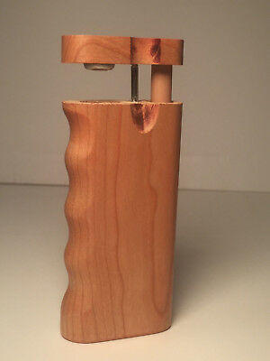 "4"" Dugout One Hitter Cherry Wood Spring Top Finger Grip & Aluminum Cigarette"