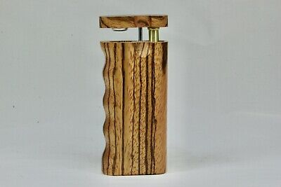 "4"" Dugout One Hitter Zebra Wood Spring Top Finger Grip & Aluminum Cigarette"