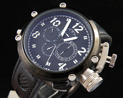 50mm Parnis PVD Solid Big Face Black Dial Automatic Mechanical Mens Sports Watch