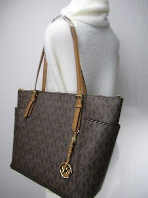 NEW Michael Kors PVC Jet Set Item EW Top Zip Tote Bag Brown/Acorn MK Signature