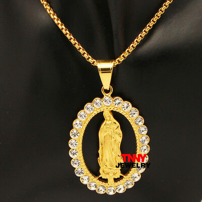 "24"" 3MM Iced Out Stainless Steel Gold Plated Bling Guadalupe Pendant Necklace"