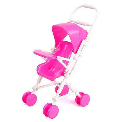 DIY Assembled Baby Buggy Stroller Pink Doll House Trolley Toy Y8K8