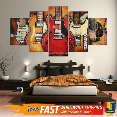 5Pcs Abstract Guitar Music Poster Canvas Oil Print Painting Wall Art Home Decor
