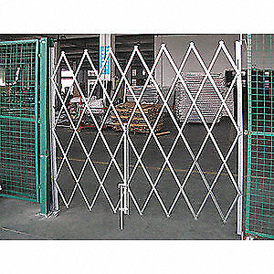 GRAINGER APPROVED Steel Folding Gate,Single,9 to 10 ft.Wx8 ft.H, 35LF22, Gray