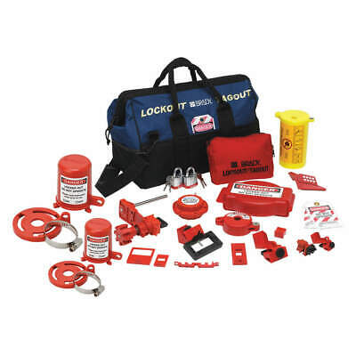 BRADY Portable Lockout Kit,Electrical/Valve,17, 99691, Blue