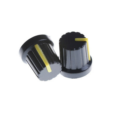 20x Yellow Indication 6mm Shaft Hole Knurled Grip Potentiometer Pot Knob Caps WH