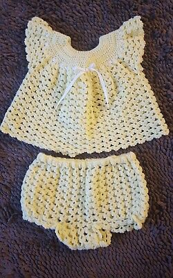 Handmade*Yellow Vintage Baby Girl Sweater Set*Size 12mos*GVC