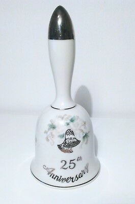 Lefton-Hand-Painted-China-25th-Anniversary-Bell-w-Clapper-Silver-Bells-and-Trim