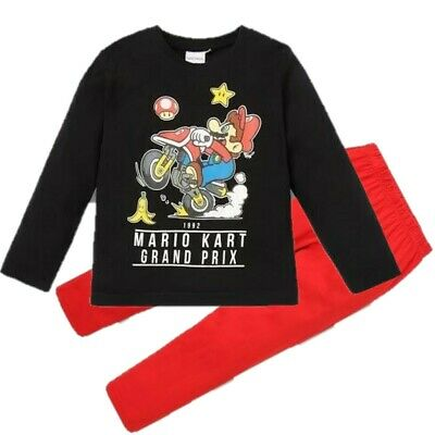 Boys Kids Children Super Mario Long Cotton Pyjamas Pjs Sets Age 4-10 years