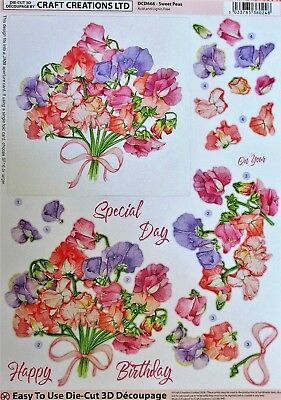 "A4 DIE CUT 3D PAPER TOLE DECOUPAGE ""SWEET PEAS"" SHEET DCD666 Flowers"