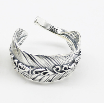 Punk New Men Retro Antique Silver Stainless Steel Feather Ring Band Jewelry Gift
