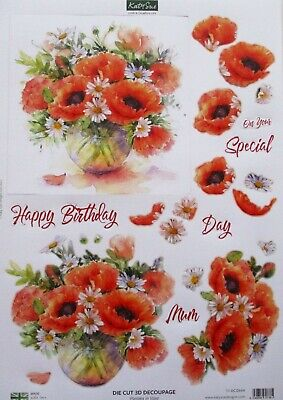 "A4 Die Cut 3D Paper Tole Decoupage ""vase Of Oriental Poppies"" Sheet Dcd664"