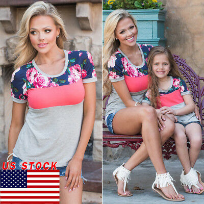 US Mother and Daughter Parent-child Floral Clothes Top Family Matching Outfits