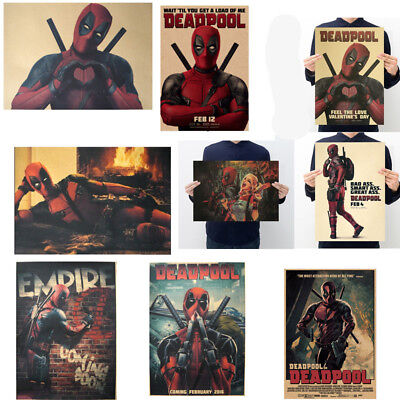 Avengers Deadpool Retro Kraft Paper Poster Cafe Bar Room Decor Painting Picture